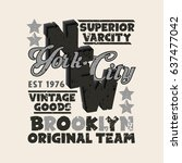 sport t shirt  nyc vintage... | Shutterstock . vector #637477042