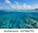 over under water surface  rocky ... | Shutterstock . vector #637486792
