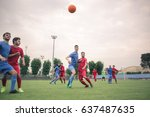 playing a football match | Shutterstock . vector #637487635