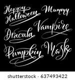 happy halloween hand written...