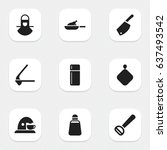 set of 9 editable meal icons.... | Shutterstock .eps vector #637493542