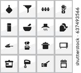 set of 16 editable food icons.... | Shutterstock .eps vector #637493566