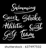 swimming and sport team hand... | Shutterstock .eps vector #637497532