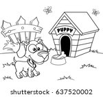 dog and house. black and white... | Shutterstock .eps vector #637520002