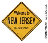 welcome to new jersey vintage... | Shutterstock .eps vector #637522366