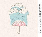 watercolor graphic of umbrella... | Shutterstock .eps vector #637539376