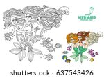 three beautiful mermaid girls... | Shutterstock .eps vector #637543426