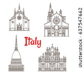 italy landmark buildings and... | Shutterstock .eps vector #637547662