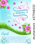 spring poster design for april... | Shutterstock .eps vector #637548232