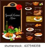 spanish restaurant vector menu. ... | Shutterstock .eps vector #637548358