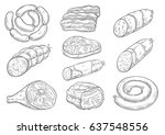 meat products and butchery... | Shutterstock .eps vector #637548556