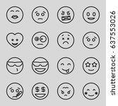 set of 16 emoticon outline... | Shutterstock .eps vector #637553026