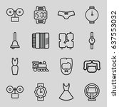 Set Of 16 Classic Outline Icon...