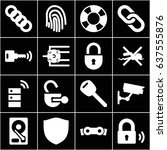 security icons set. set of 16... | Shutterstock .eps vector #637555876