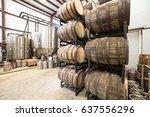 Stack Of Barrels In Cellar Wit...