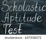 Small photo of Scholastic Aptitude Test lettering on a blackboard