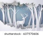 deer in forest with snow.vector ... | Shutterstock .eps vector #637570606