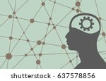 silhouette of a man's head with ... | Shutterstock . vector #637578856