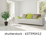 white room with sofa and green... | Shutterstock . vector #637590412