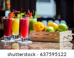 fresh vegetable juice and... | Shutterstock . vector #637595122