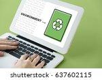 hands working on laptop network ... | Shutterstock . vector #637602115