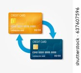 two bank plastic credit card... | Shutterstock .eps vector #637607596