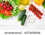 cucumbers  radish  tomatoes... | Shutterstock . vector #637609606