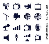 broadcast icons set. set of 16...