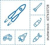rocket icon. set of 6 rocket... | Shutterstock .eps vector #637610728