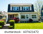 classic craftsman house in... | Shutterstock . vector #637621672