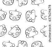 pig head hand draw doodles | Shutterstock .eps vector #637624678