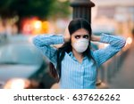 girl with mask covering her... | Shutterstock . vector #637626262