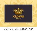wheat crown logo   vector... | Shutterstock .eps vector #637631038