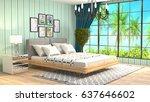 bedroom interior. 3d... | Shutterstock . vector #637646602