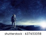 astronaut in outer space. mixed ... | Shutterstock . vector #637653358