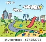 colored children playground... | Shutterstock .eps vector #637653736