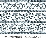 Stock vector tiny cute hand drawn elephants lines in tribal style vector seamless pattern 637666528