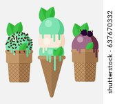 set of mint ice cream cone. | Shutterstock .eps vector #637670332
