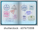 open passport for foreign... | Shutterstock .eps vector #637673308