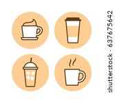 set of drink coffee cup  icon... | Shutterstock .eps vector #637675642