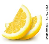 two juicy yellow lemon slices... | Shutterstock . vector #637677265