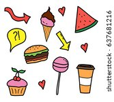 hand drawn stickers  can be... | Shutterstock .eps vector #637681216