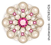mandala brooch jewelry  design... | Shutterstock .eps vector #637681426
