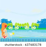 young woman sunbathing by the... | Shutterstock . vector #637683178