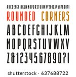 extra narrow sanserif font with ... | Shutterstock .eps vector #637688722