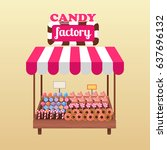candy factory stand with tasty... | Shutterstock .eps vector #637696132