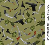 military gun seamless pattern ... | Shutterstock .eps vector #637696702