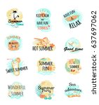 logo icons summer time. keep... | Shutterstock .eps vector #637697062