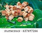 deep fried crab meat roll  thai ...   Shutterstock . vector #637697266