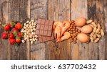 selection of allergy food | Shutterstock . vector #637702432